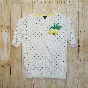 Talbots Cardigan Sweater Polka Dot Lemons Top Sz M